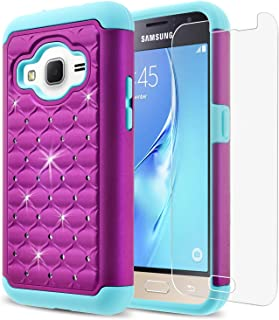 Galaxy Core Prime Case, Starshop Slim Dual Layer Armor Phone Case Cover with Spot Diamond Teal/Purple