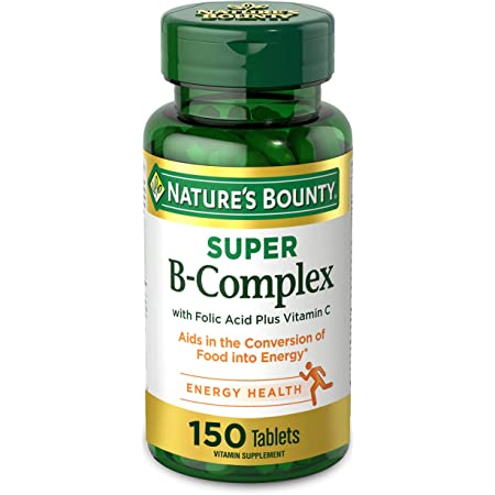 Nature's Bounty Super B-complex with Folic Acid Plus Vitamin C, No Artificial Favors, White, 150 Count