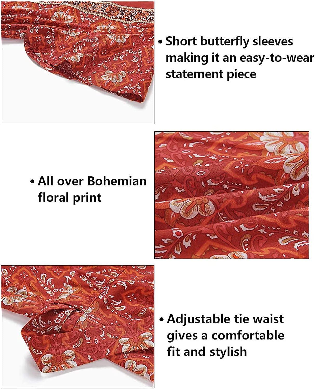 ZESICA Women's Bohemian Floral Printed Wrap V Neck Short Sleeve Split Beach Party Maxi Dress