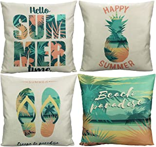 VAKADO Beach Outdoor Throw Pillow Covers Hello Summer Tropical Palm Tree Pineapple Slipper Decorative Cushion Cases Home Decor Decorations for Couch Sofa Patio 18x18 Inch Set of 4