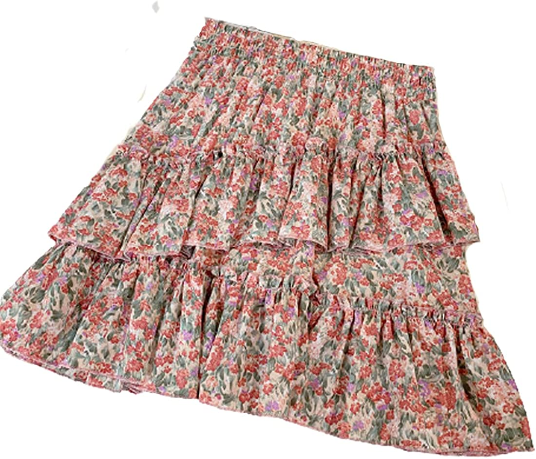 G-dress Globalwells Women Mini Tutu Chiffon Ruffle Skirt Swing Beach Boho High Waist Elastic Skirt