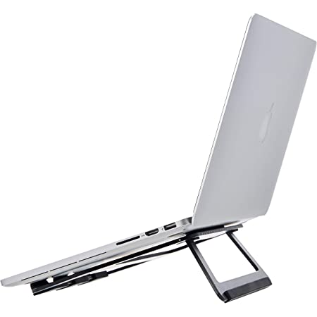 Amazon Basics Aluminum Portable Foldable Laptop Support Stand for Laptops up to 15 Inches, Black