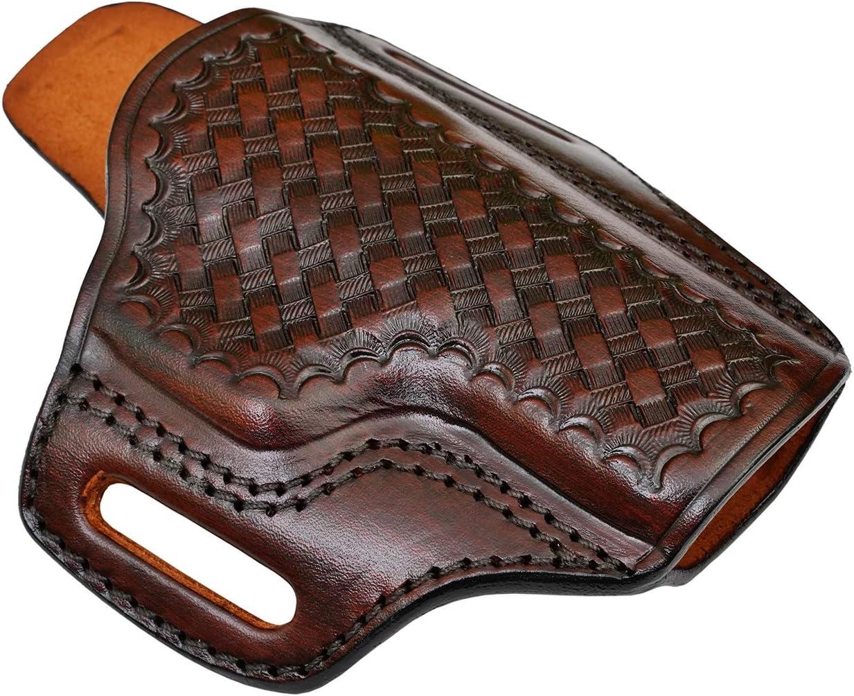 OWB Leather Holster for Ruger GP100 6 Shot - Basket Weave - Genu