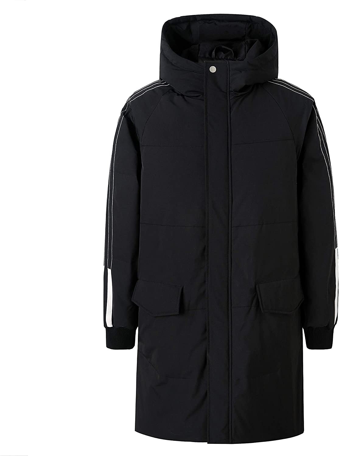 ZENTHACE Men's Long Down Coat Winter Warm Down Puffer Jacket with Hood(Big and Tall)