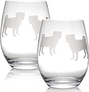 Pug Stemless Wine Glasses (Set of 2) | Unique Gift for Dog Lovers | Hand Etched with Breed Name on Bottom