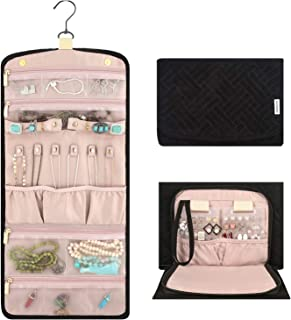Vextronic Travel Jewelery Organizer Roll Foldable Jewelry Storage Case Bag for Bracelets Earrings Necklace Rings (Large)