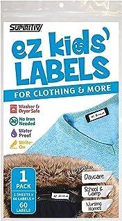 برچسب های پوشاک Stick-On ، برچسب Supiritiv All Purpose Ez برای کودکان و بزرگسالان ، برچسب بدون آهن ، قابل نوشتن ، واشر و خشک کن ، 60 برچسب