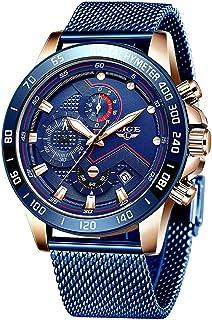 Relojes para Hombres,LIGE Acero Inoxidable Impermeable Reloj Analógico de Cuarzo Cronógrafo Banda de Malla Milanesa Esfera Azul Fecha Moda Casual Relojes de Pulsera Azul…