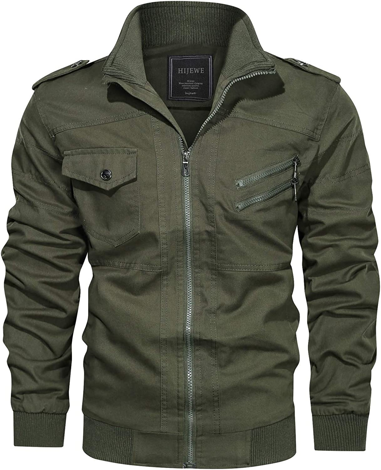 HIJEWE Men's Military Jacket Outdoor Free Shipping New Lightweight Cotton Bargain sale Casual B