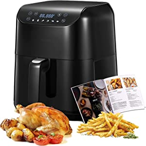 Air Fryer Hot Oven Cooker, 5.8QT Airfryer, Roast, Bake, Broil, Reheat, Fry Oil-Free, Cooking Accessories Included, Stainless Steel, 1700W