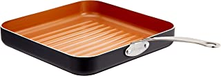 "Gotham Steel Grill Pan – 10.5"" Square Aluminum Grill Pan with Nonstick Surface, Sear Ridges and Stainless Steel Handle, Di..."