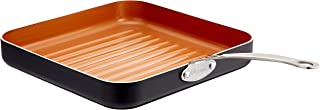 """Gotham Steel Grill Pan – 10.5"""" Square Aluminum Grill Pan with Nonstick Surface, Sear Ridges and Stainless Steel Handle, Dishwasher and Oven Safe"""