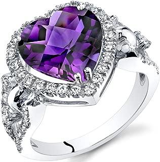 Amethyst Heart Shape Halo Ring in 14K White Gold (3.00 carat)