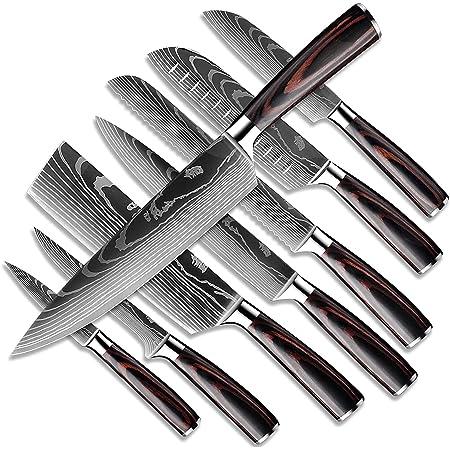 Dfito Ensembles de Couteaux de Cuisine, Coffret de Couteaux de 9.5-20cm Couteaux Japonais Ultra Tranchants en Acier IInoxydable 440A Avec étui, Coffret 8 Couteaux Pour les Chefs Professionnels