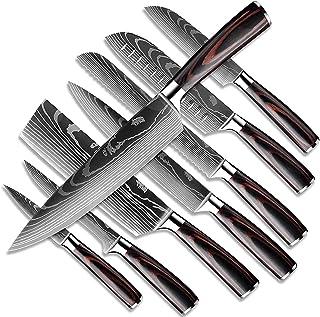 Dfito Ensembles de Couteaux de Cuisine, Coffret de Couteaux de 3,5 à 8 Pouces Couteaux Japonais Ultra Tranchants en Acier ...