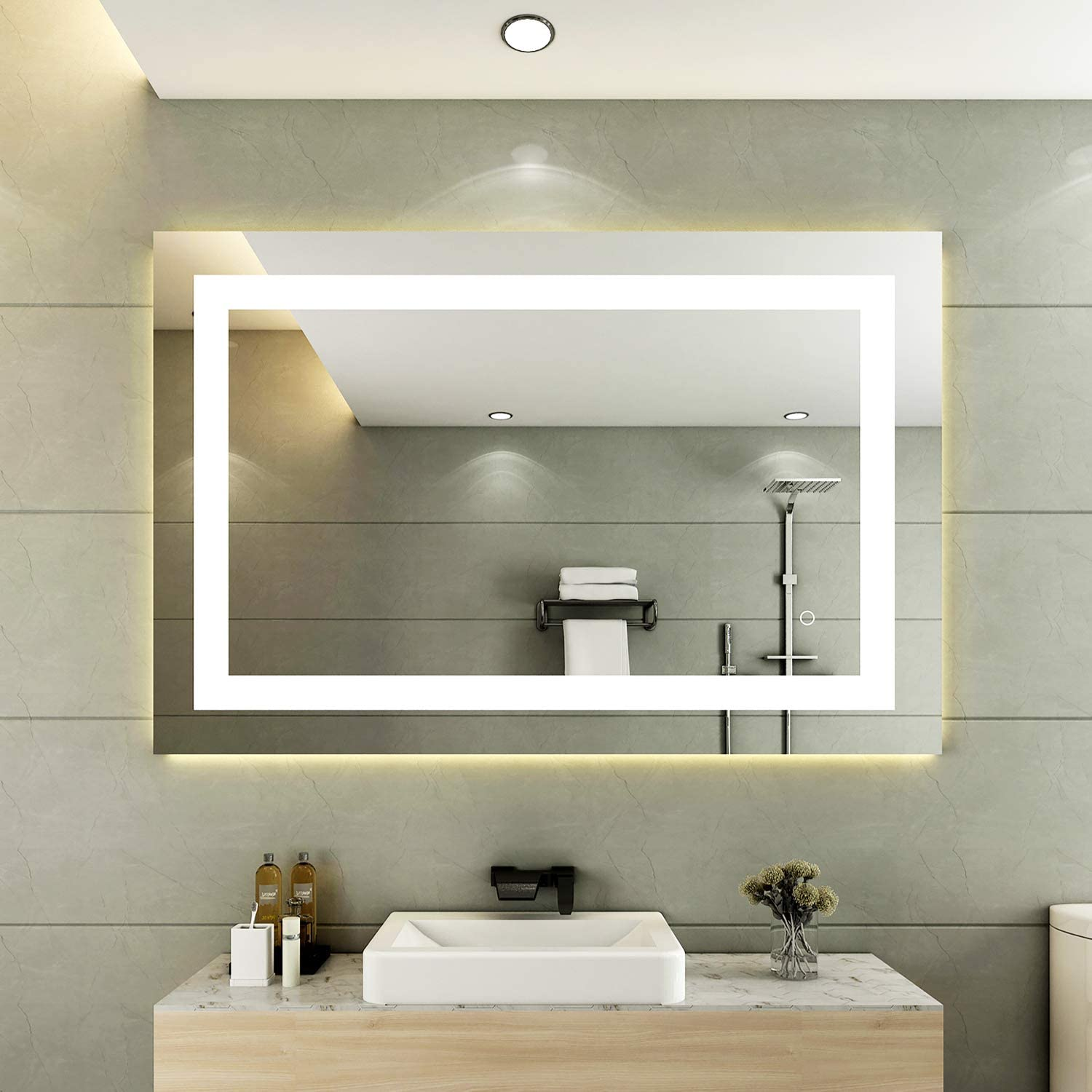 Buy 32 X 24 Inch Led Bathroom Makeup Vanity Mirror Rectangle Lighted Large Modern Wall Mirror Waterproof Anti Fog Dimmable Backlit Mirror With Lights Online In Vietnam B08yjbnh2s