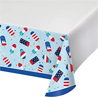 """Creative Converting Patriotic Popsicles Paper Tablecloth, 54"""" x 102"""", Red, White and Blue"""