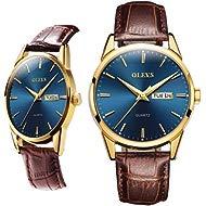 Men Women Watches Brown Leather-OLEVS Classic Analog Quartz Watch Week Date Casual Luminous...