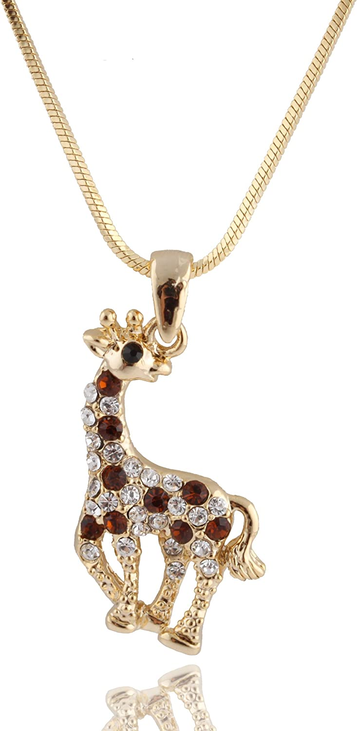 Goldtone with Brown Iced Out Giraffe Pendant with a 16 Inch Snake Franco Necklace Chain (B-343)