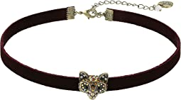 Betsey Johnson - Burgundy and Gold Fox Choker Necklace