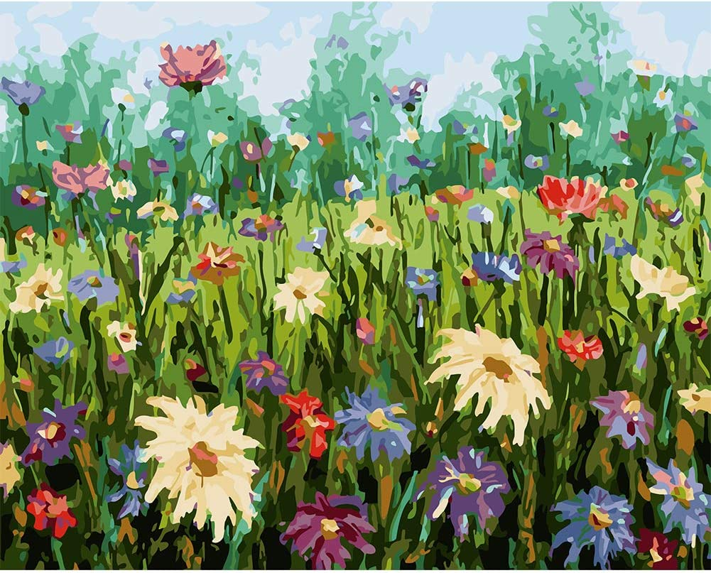 COLORWORK DIY Paint by Numbers for Adults and Kids, Garden Flower Acrylic Painting Kit, 16