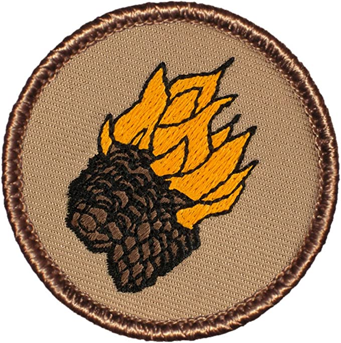 141 Flaming Pinecones Patch 2 Inch Diameter Embroidered Patch