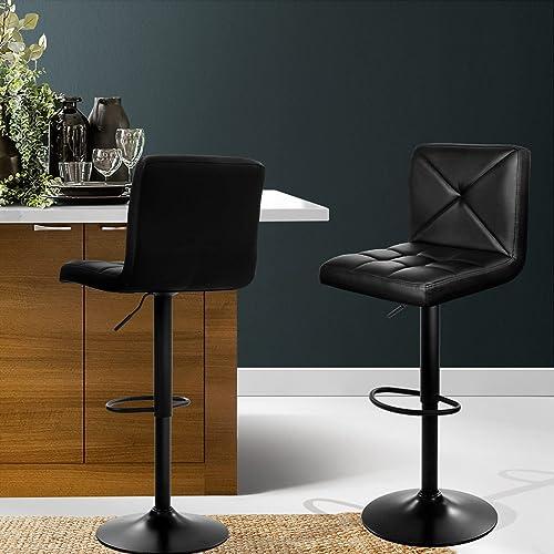 Artiss Bar Stools Set of 2, Gas Air Lift Adjustable Swivel Kitchen Dining Counter Stools