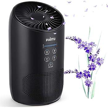PARTU HEPA Purificador de Aire con Esponja de Fragancia y Botón de Bloqueo, Limpiador de Aire para el Hogar contra la Alergia, Polvo, Polen, Caspa de Mascotas, Moho, Humo, 100% sin Ozono: