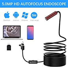 USB Endoscope with 4 Adjustable LED Lights,Anykit 5.0 Megapixels Semi-Rigid Borescope Waterproof Inspection Camera for Android, MacBook & Windows PC 5m(16.4 ft)