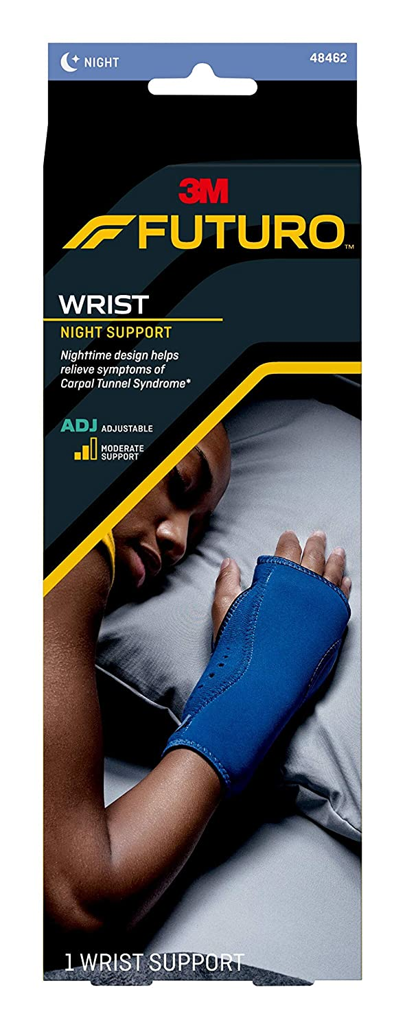 FUTURO-48462 Night Wrist Support SIOC, Helps Provide Nighttime Relief of Carpel Tunnel Symptoms, Breathable, One Size - Black: Industrial & Scientific