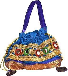 Handicrafts and Jewellery Potli Bags Wristlets Ethnic Potli for Women's Bridal Potli, Purple