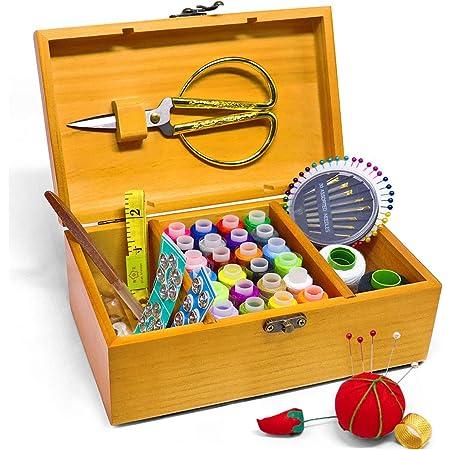 Boîte à couture avec kit d'accessoires - Boîte de rangement vintage en bois - Pour grand-mère, fille, femme - Cadeau d'intérieur