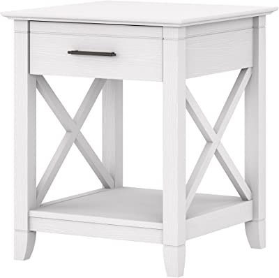 Bush Furniture Key West Nightstand with Drawer, Pure White Oak