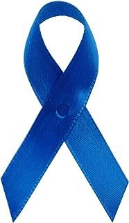250 USA Made Royal Blue Satin Awareness Ribbons - Bag of 250 Fabric Ribbons with Safety Pins (Many Colors Available)
