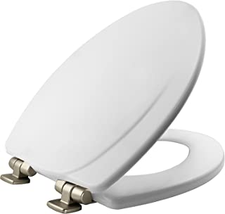 MAYFAIR Toilet Seat 1830NISL 000 with Chrome Hinges will Slow Close and Never Come Loose, ELONGATED, Durable Enameled Wood, White