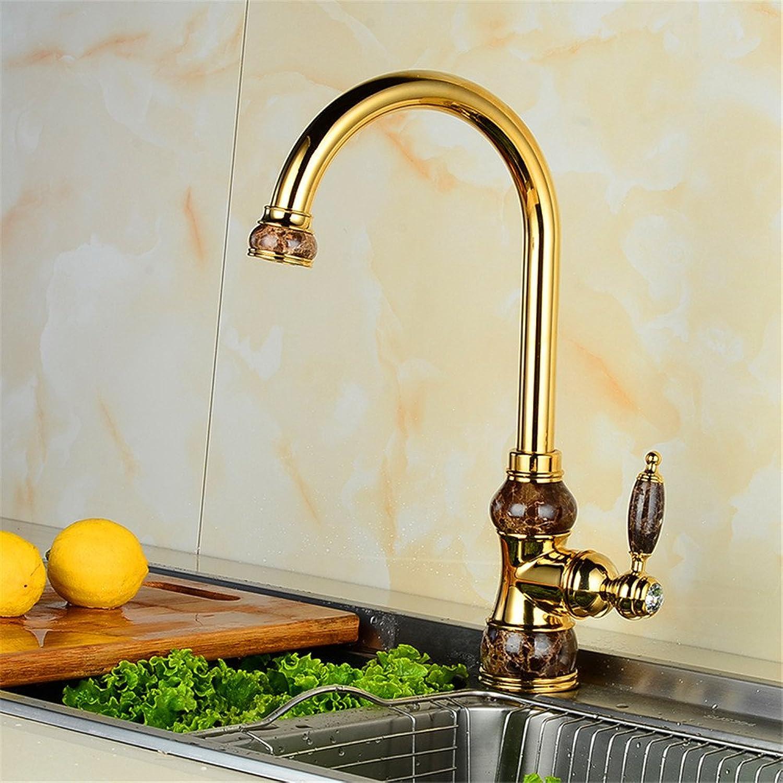 Bijjaladeva Antique Kitchen Sink Mixer Tap Antique Dish Washing Basin Faucet Retro-Copper hot and Cold Kitchen Faucet gold Swivel Caster Sink Mixer (8D80)
