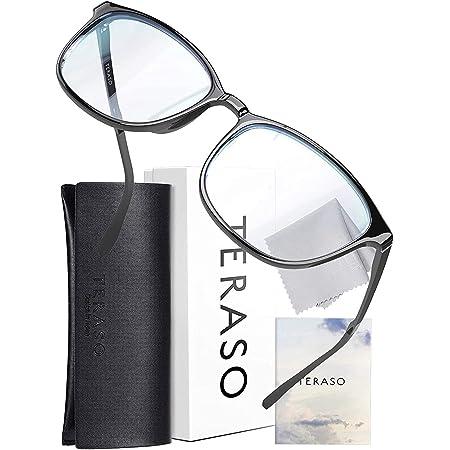 TERASO【最新改良】ブルーライトカットメガネ おしゃれ【眼科検査技師推薦】超軽量 JIS規格 43% UV99% Tr90 パソコン用 だてめがね