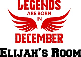 Legends are Born in December Quote Quotes Birth Day Month Christmas Holiday Childrens Wall Decal - Custom Monogram Vinyl Wall Art - Personalized Name Vinyl Lettering - Size 16x20 Inches
