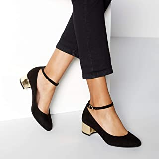 b83931b6ed33a Good for the Sole Womens Black Suedette 'Grazer' Block Heel Wide Fit Court  Shoes