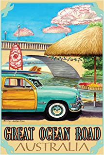 Great Ocean Road Australia Turquoise Woody Travel Art Print Poster by Evelyn Jenkins Drew (24
