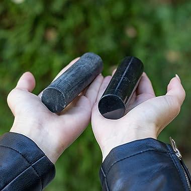 Heka Naturals Shungite Harmonizer Set, Shungite Cylinder and Soap Stone Cylinder | Meditation Stones for Chakra and Energy Ba