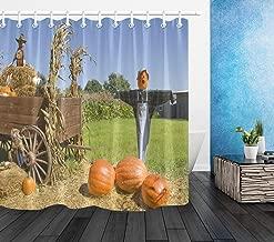 ETOB Halloween Scarecrows On Pumpkin Farm Shower Curtain Blue Sky Fall Decorations Bathroom Curtains Waterproof Fabric with Hooks, 60x72 Inch