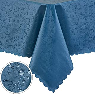 "PENGSHE Rectangular Tablecloths Easy Care Dinning Table Cover Waterproof Oil-Proof Spill-Proof Durable Tablecloth (Blue, 60""x84"")"