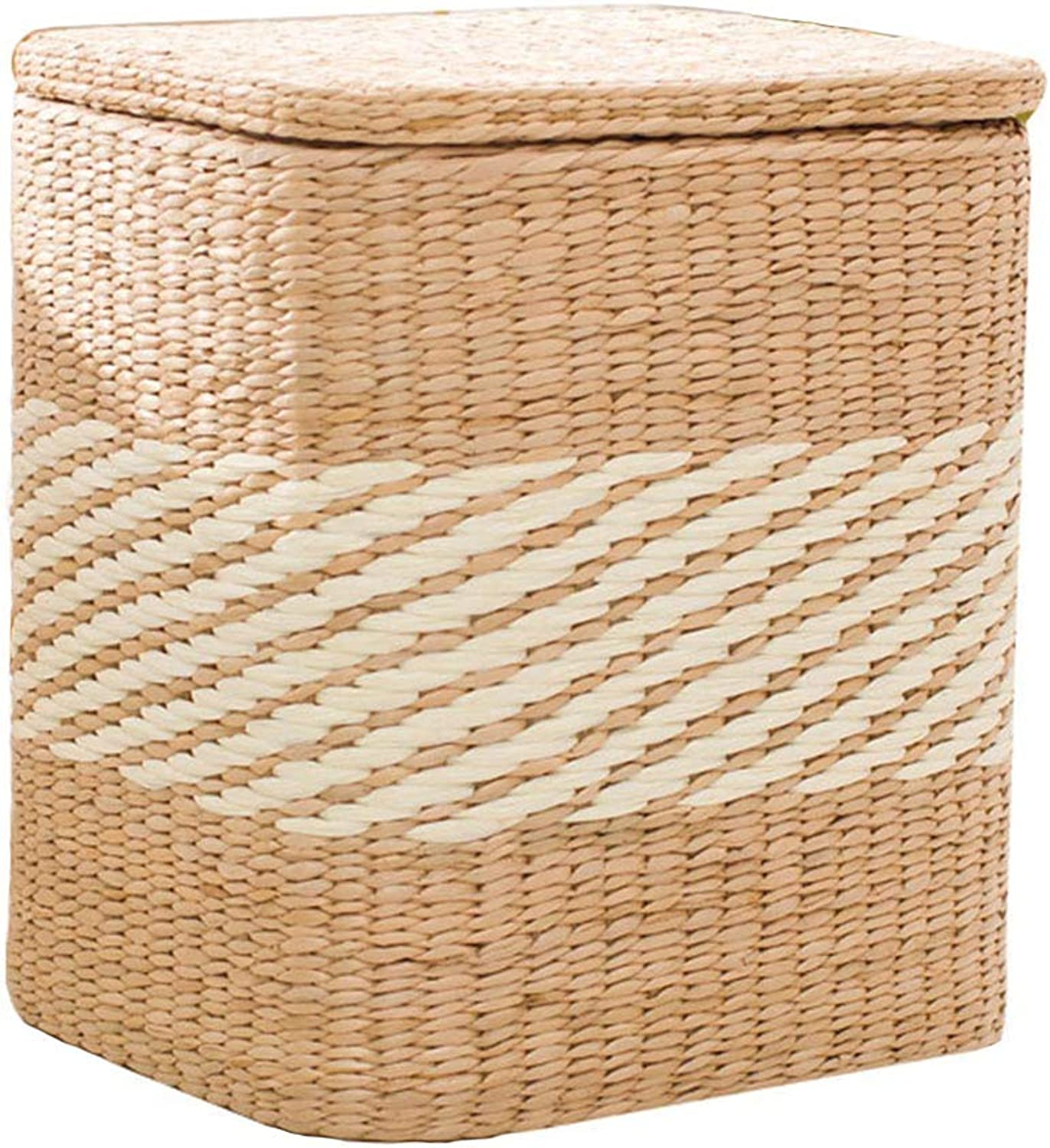 Home Footstool Rattan Storage Stool, Creative Home Square Solid Wood shoes Bench, Suitable for Living Room, Bedroom, Porch