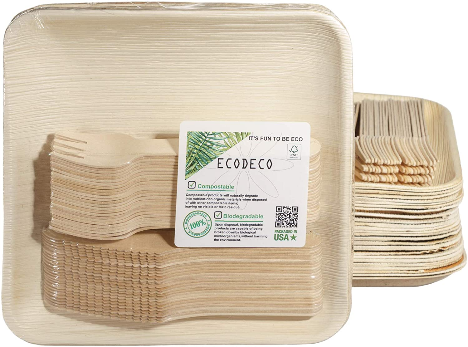 150 PCS Eco Friendly Now on sale National products Disposable Dinnerware Leaf Set Palm Co - 50