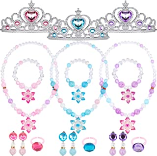 Princess Play Jewelry for Little Girls Princess Dress Up Accessories Costume Jewelry Toys Princess Crown Necklace Bracelet Ring Clip-on Earrings Princess Pretend Play Party Favors Supplies Gifts