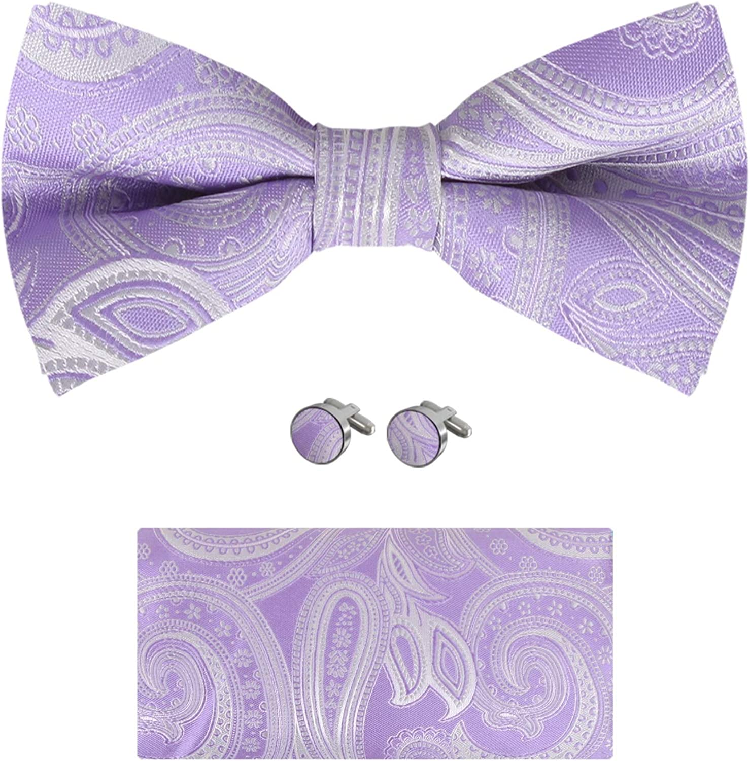 Epoint Bowties For Party Silk Pre-Tied Bow Ties Handkerchief Cuff-Links Set Adjustable Franch Cuff Shirt