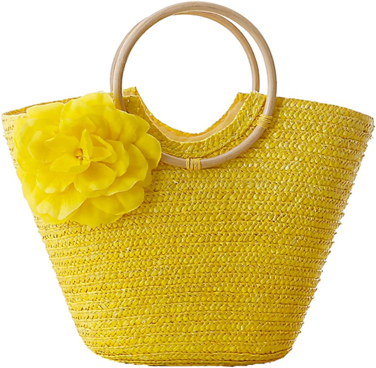 Womens Woven Handbag with Flowers by Coseey