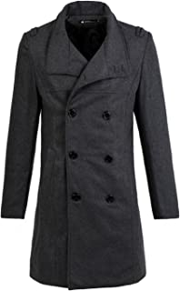 uxcell Men Double Breasted Slant Pockets Front Split Back Casual Long Peacoat