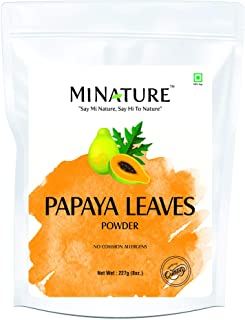 mi nature Papaya Leaves Powder(Carica Papaya) | Aids Digestion| Lowers Blood Sugar Levels| | Non-GMO,Vegan | 227(g) (8oz)(...
